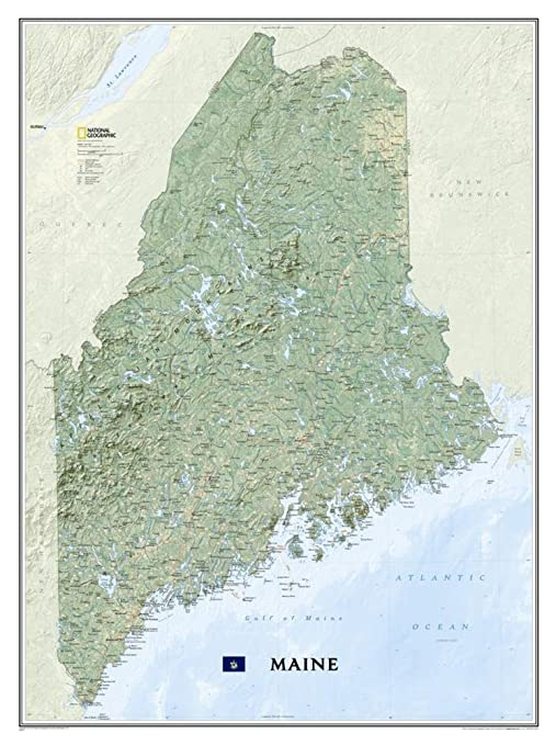 Maine State Wall Map Material: Laminated