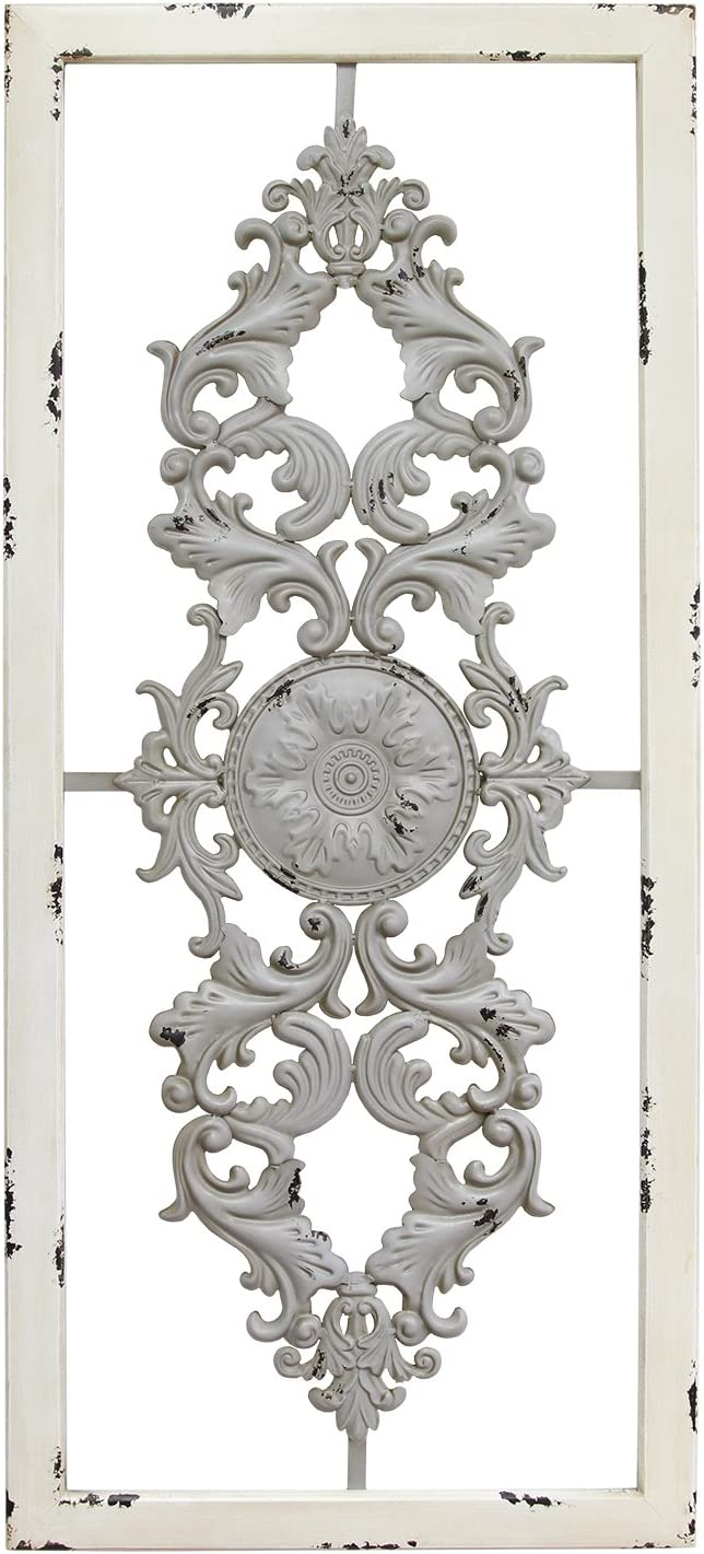 Stratton Home Decor Grey Scroll Panel Wall Decor, 36.00 W X 0.63 D X 16.00 H