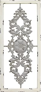 Stratton Home Decor Grey Scroll Panel Wall Decor, 36.00 W X 0.63 D X 16.00 H