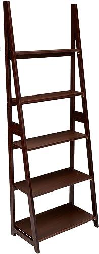 AmazonBasics Modern 5-Shelf Ladder Bookcase Organizer with Solid Rubber Wood Frame – Espresso
