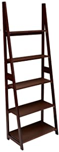 AmazonBasics Modern 5-Shelf Ladder Bookcase Organizer with Solid Rubber Wood Frame - Espresso
