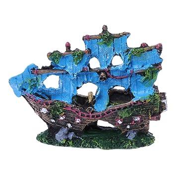 LANDUM Resina Barco de Vela decoración del Tanque de Peces Ornamento del Acuario Barco hundido: Amazon.es: Hogar