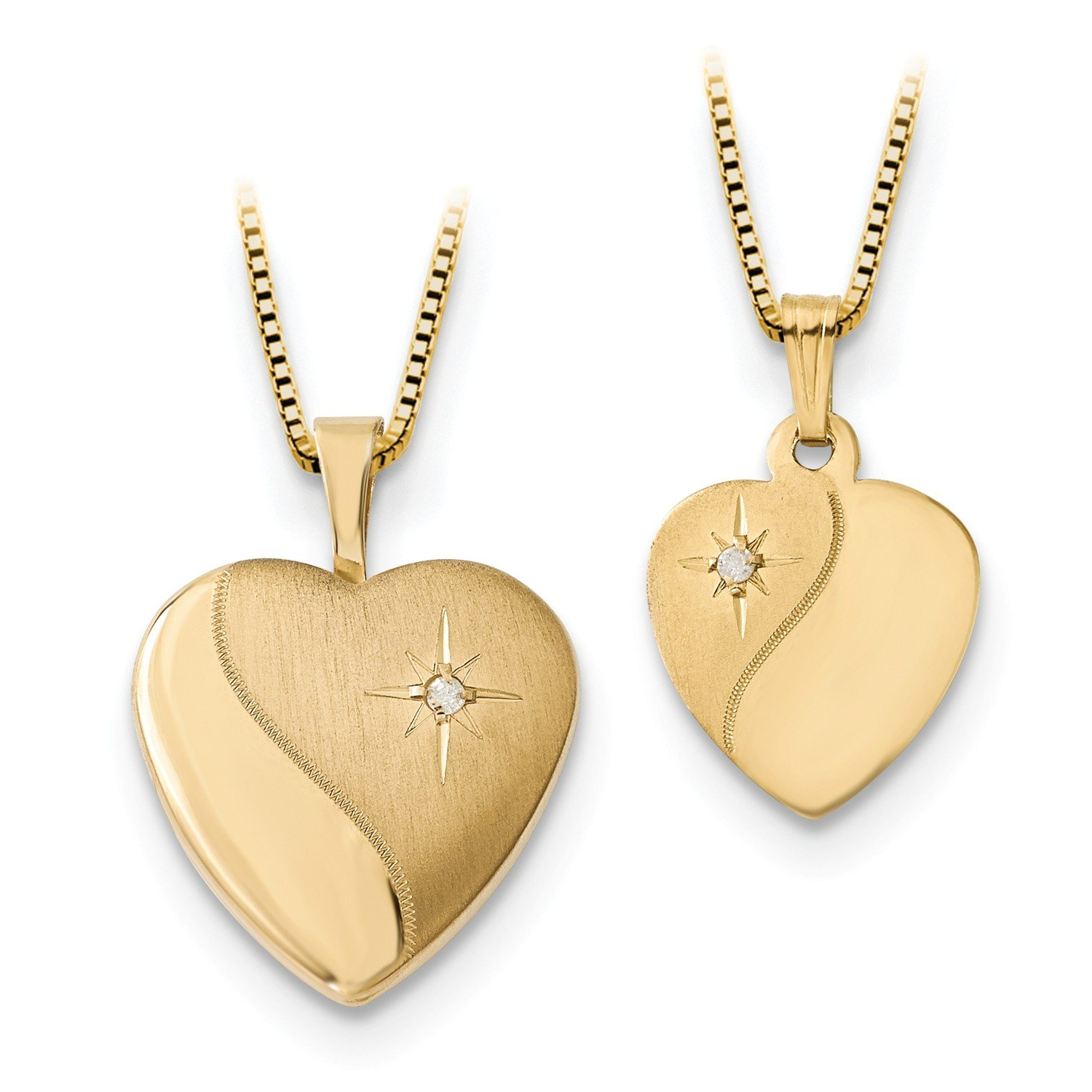 Roy Rose Jewelry 14K Yellow Gold 16mm Diamond Heart Locket & Gold Plated Sterling Silver 12mm Pendant