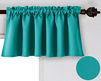 Deconovo Turquoise Valances For Window Kitchen Valance Textured Embossed Blackout Curtain 42x18 Inch 1 PCS