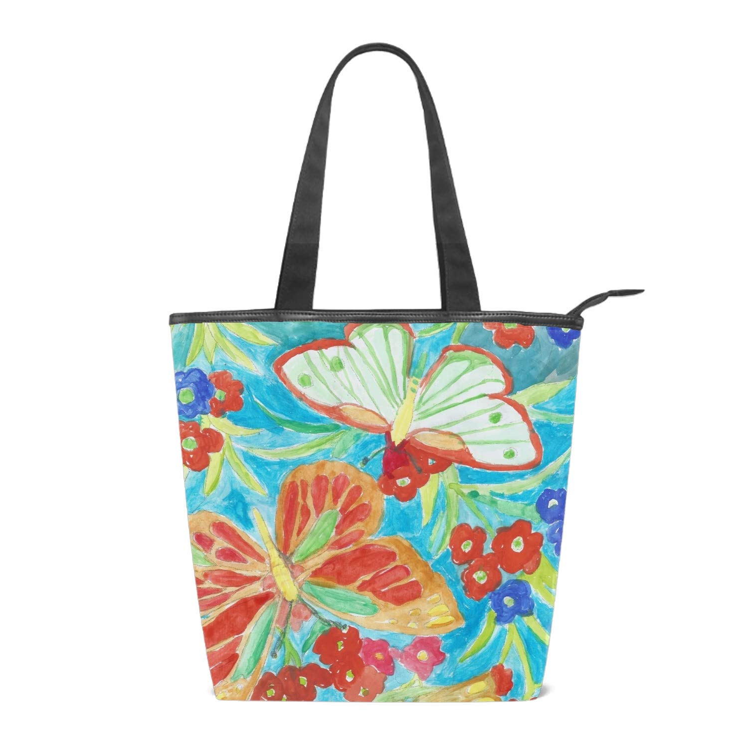 Womens Canvas Tote Bag Pizza Pattern Shopping Bag with Zipper Pocket Inside and Long Handles