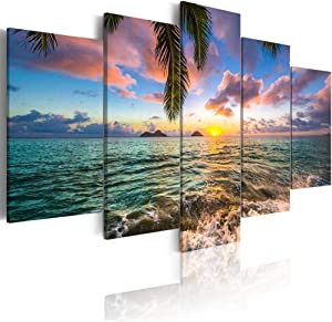 Ocean Beach Wall Art Canvas Print Sea Picture Painting Home Living Room Bedroom Office Decor Sunset (Over Size 40inch x 20inch)