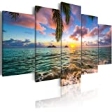 Ocean Beach Wall Art Canvas Print Sea Picture Painting Home Living Room Bedroom Office Decor Sunset (Over Size 60inch x…