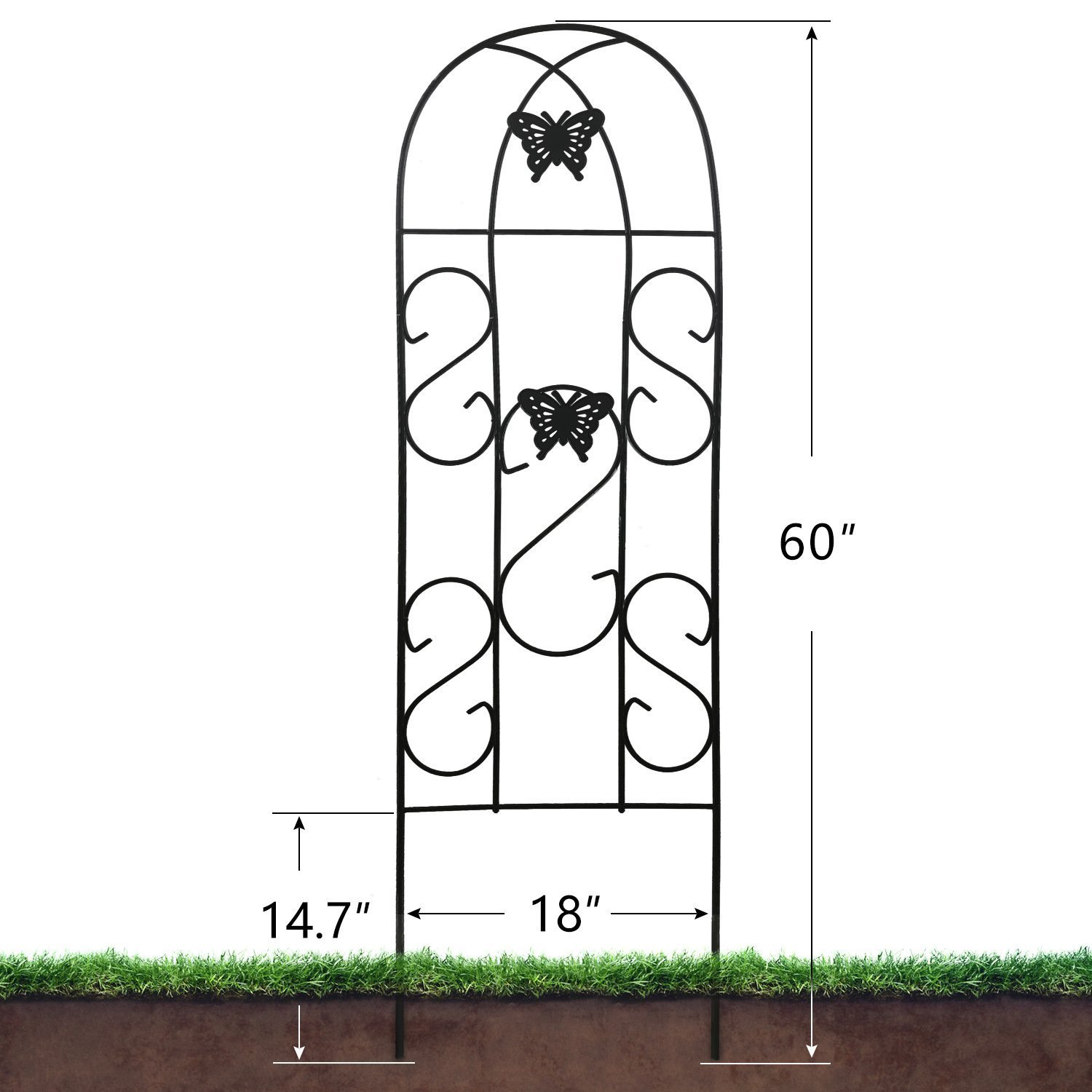 4 Pack Garden Trellis for Climbing Plants 60 x 18 Rustproof Sturdy Black Iron Trellis for Potted Plant Support Butterfly Metal Trellises for Climbing Roses Vines Flower Vegetables Cucumber Clematis