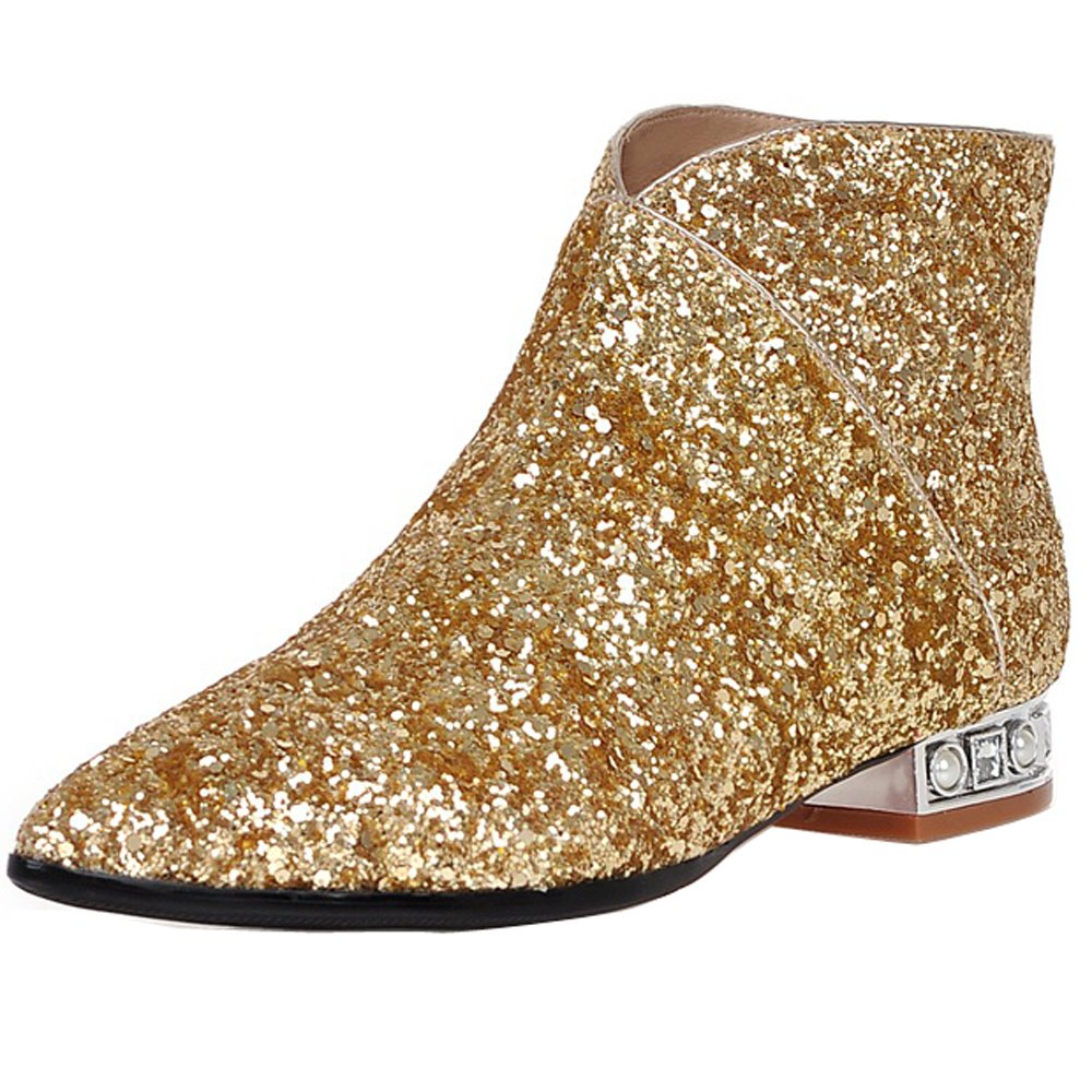 ENMAYER Women's Charming Sequins Style Mid Block Heel Ankle Boots B01IJQ471O US 7 =CN38=Foot Length 24cm|Gold