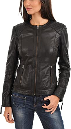 BENJER Skins Womens Lambskin Leather Bomber Motorcycle Jacket
