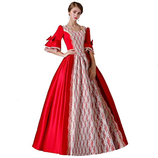 5ee66773c676 CountryWomen 18th Century Dress Red Baroque Dress Long Satin Rococo Party  Dresses for Sale at Amazon Women's Clothing store: