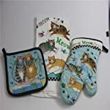 Siun Home Kitchen Use Heat Resistant Microwave Oven Gloves Insulated Mat and Towel ,Set of 3, Mittens Oven Mitts and Pot Holders ,Towel(cat Theme)