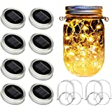 SunKite Solar Mason Jar Lights [Updated], 8 Pack 20 LED Waterproof Fairy Firefly Jar Lids String Lights with Hangers(NO…
