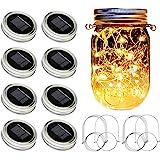 SunKite Solar Mason Jar Lights [Updated], 8 Pack 20 LED Waterproof Fairy Firefly Jar Lids String Lights with Hangers(NO Jars)