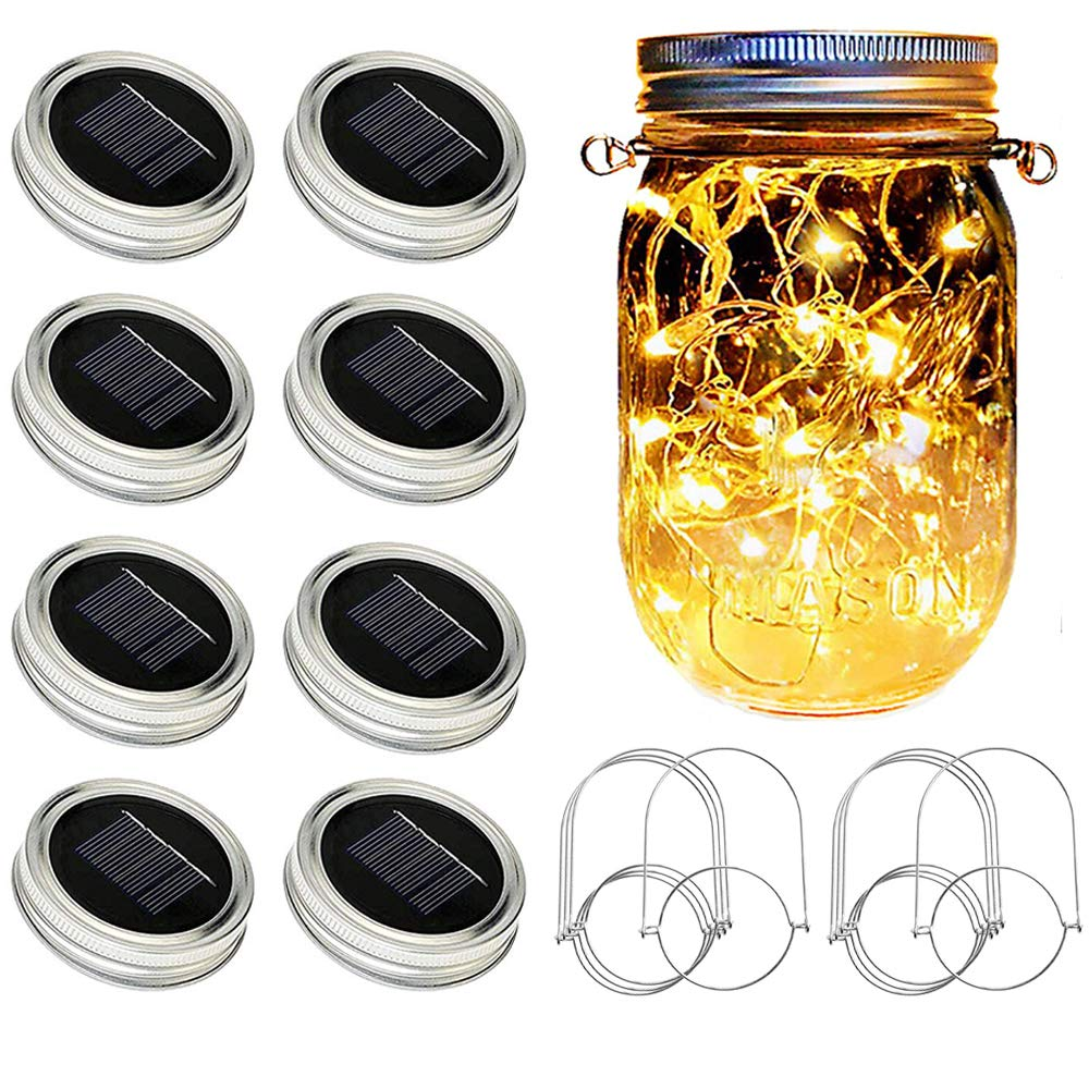 SunKite Solar Mason Jar Lights, 8 Pack 20 LED Waterproof Fairy Firefly Jar Lids String Lights with Hangers(NO Jars), Patio Yard Garden Wedding Easter Decoration - Warm White