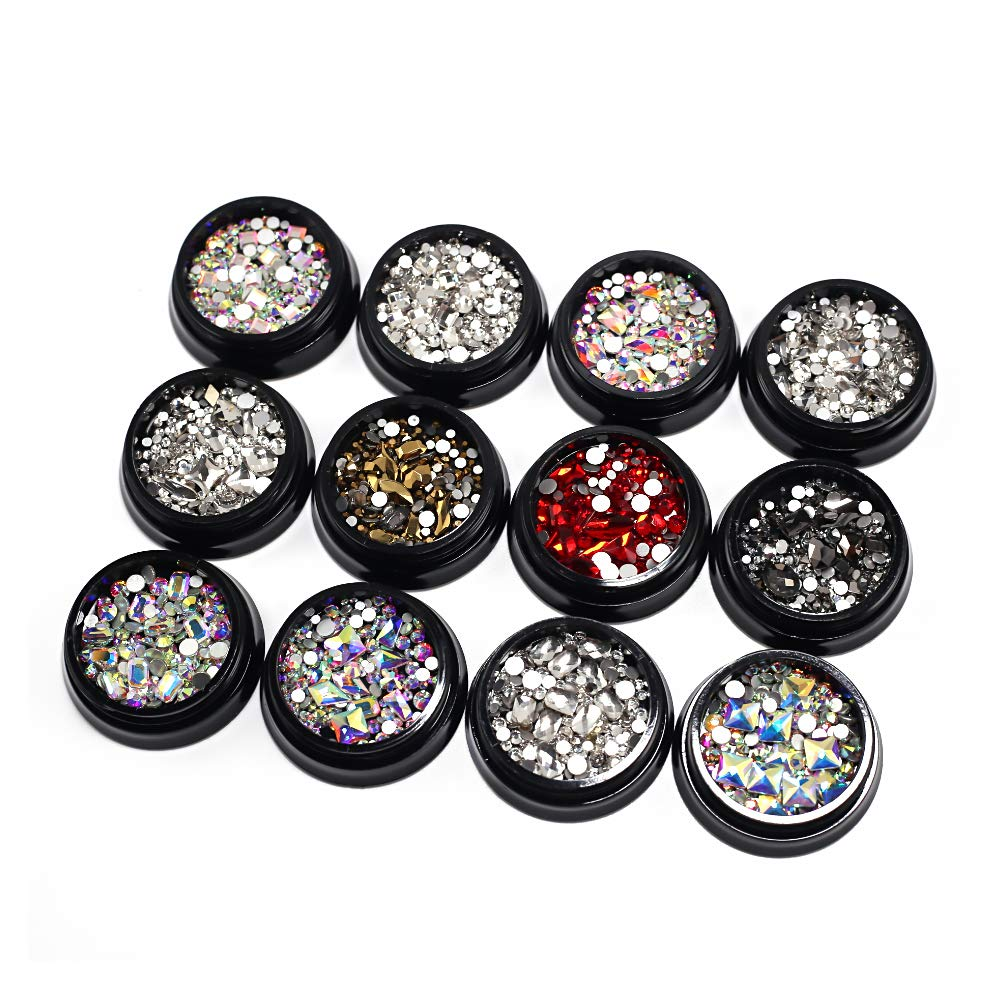 30 Types of Multi-Style Nail Art Crystal Rhinestones for Nail Decorations, Elegant Nail Art Accessories by UDOO