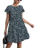 KIRUNDO 2020 Summer Women's Ruffle Mini Dress Short Sleeves Leopard Floral Round Neck Loose Pleated Dress