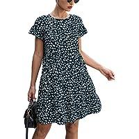 KIRUNDO 2021 Summer Women's Ruffle Mini Dress Short Sleeves Leopard Floral Round Neck Loose Pleated Dress