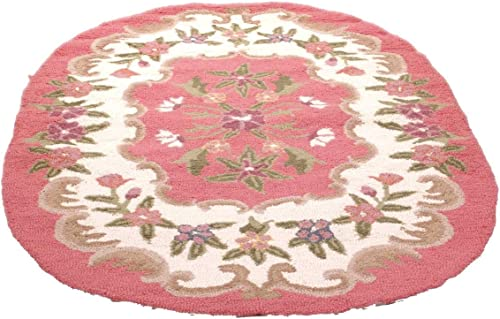 Renovator's Supply Pink Wool Oval Area Rug