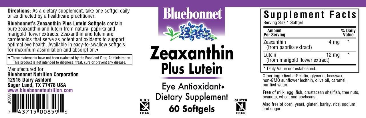Bluebonnet Nutrition Zeaxanthin Plus Lutein Softgel, Lutein & Zeaxanthin, Eye Health & Blue Light Exposure, Lutein from Marigold, Zeaxanthin from Paprika, Gluten Free, Soy Free, Milk Free, 60 Softgels by Bluebonnet