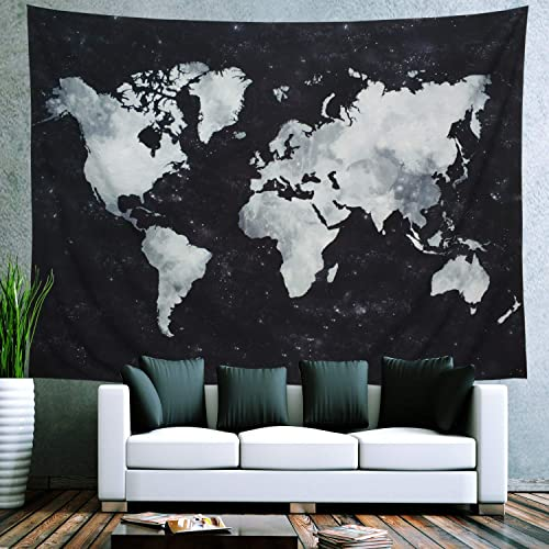 Ameyahud Starry Tapestry World Map Tapestry Apartment Essentials Black and White Tapestry Globe Constellation Galaxy Tapestry for Guys Dorm Posters XL 70.8 92.5 , Starry Map