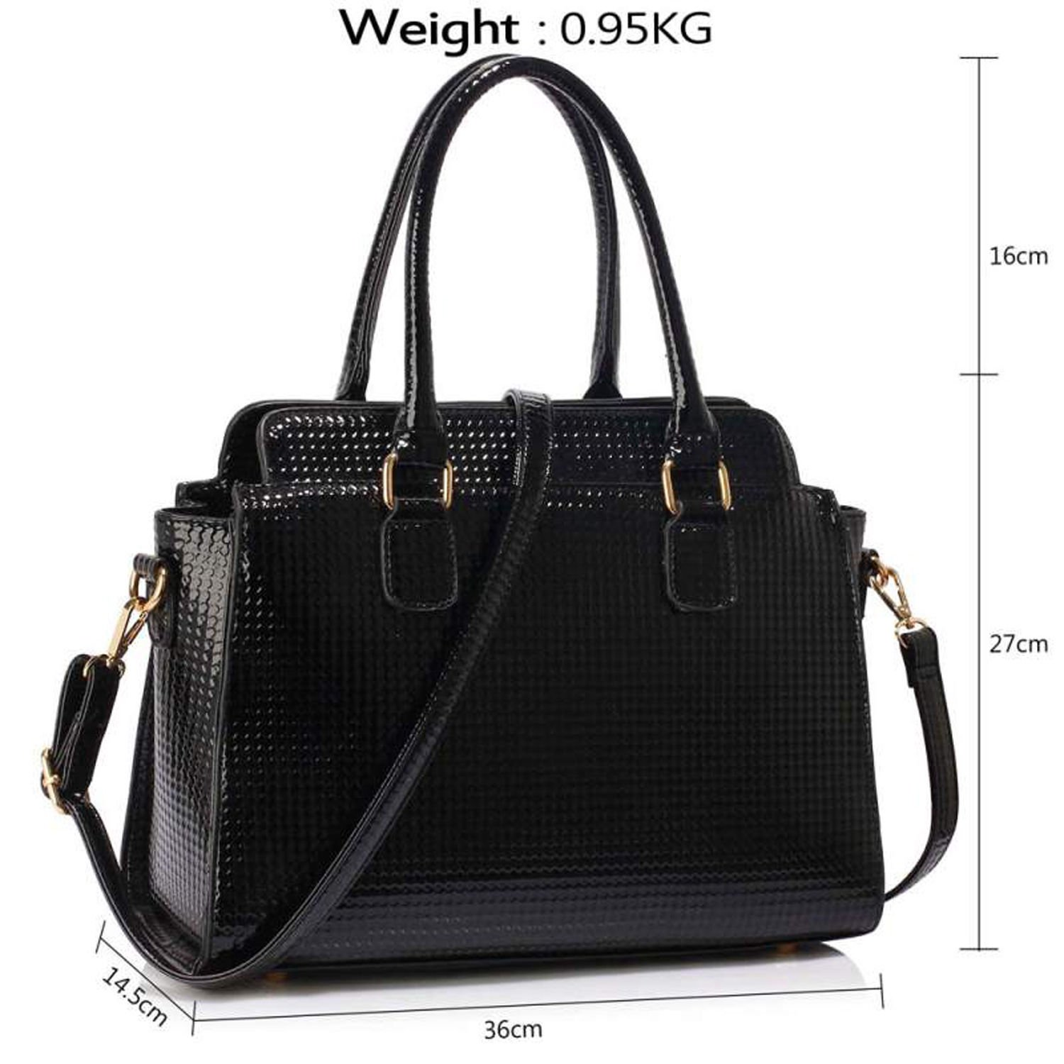 ... Medium Patent Leather Grab Bag for Women Vinyl Waterproof Designer Work  Office Handbags with Long Adjustable Shoulder Strap  Amazon.co.uk  Shoes    Bags dd9b79f6314d8
