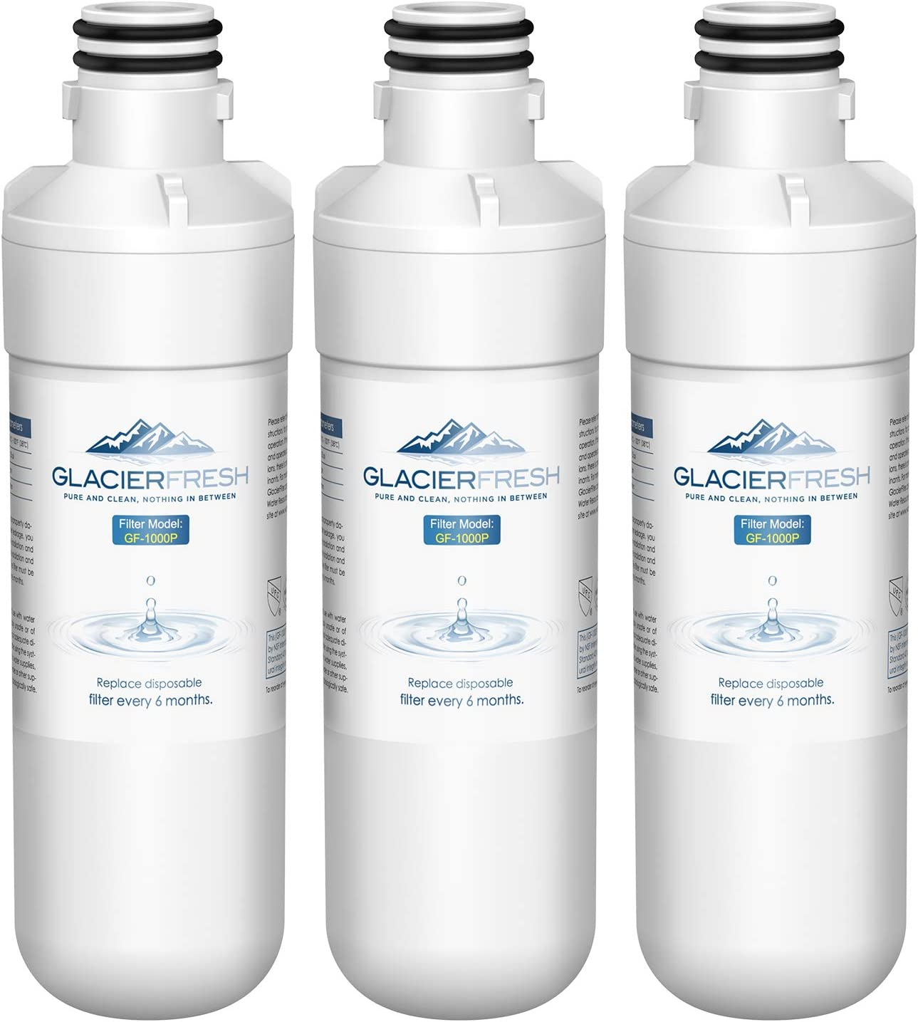 GLACIER FRESH LT1000P Refrigerator Water Filter, Compatible with LG LT1000P, LT1000PC, LT1000PCS, MDJ64844601, ADQ747935, Kenmore 9980 Water Filter, 3 Pack