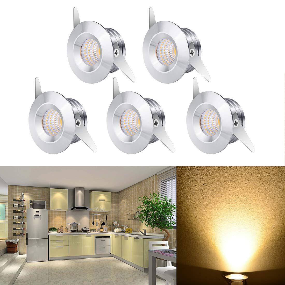 Elitlife 3W LED Small Spot Lamp Ceiling Light with Transformer Flush Mount LED Recessed Ceiling Lights Downlights for Living Room Cabinet etc 5-Pack Small Recessed Ceiling Lights