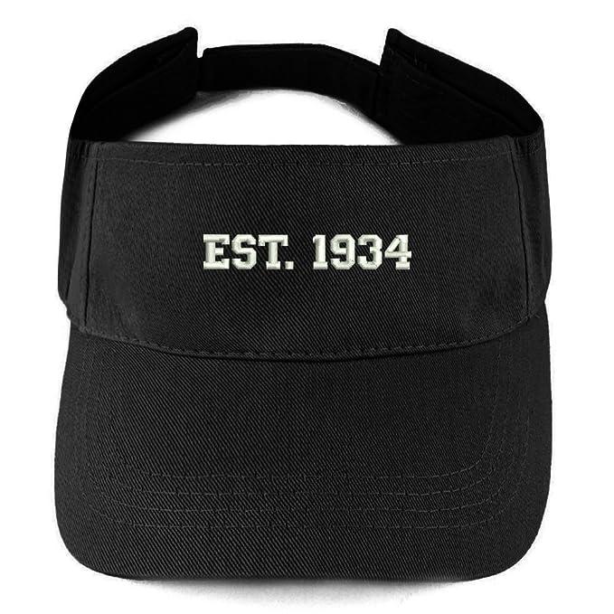 8af6a14e8236a5 Trendy Apparel Shop EST 1934 Embroidered - 85th Birthday Gift Summer  Adjustable Visor - Black