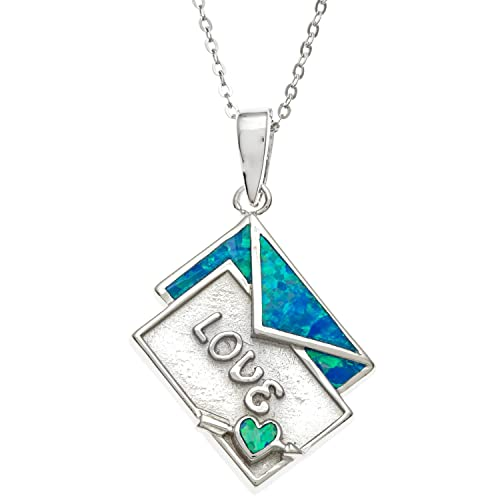Beaux Bijoux Sterling Silver Created Blue Opal Love Envelope Pendant with 18 Chain
