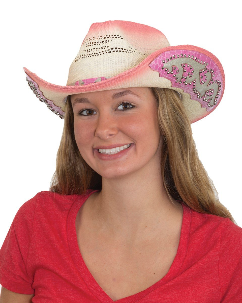 Jacobson Straw Cowboy Hat - Pink Western Hat with Studs on Band and Brim