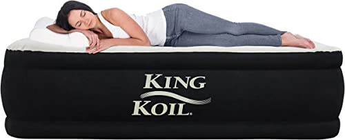 King Koil Queen Air Mattress with Built-in Pump – Best Inflatable Airbed Queen Size – Elevated Raised Air Mattress Quilt Top 1-Year Manufacturer Guarantee Included