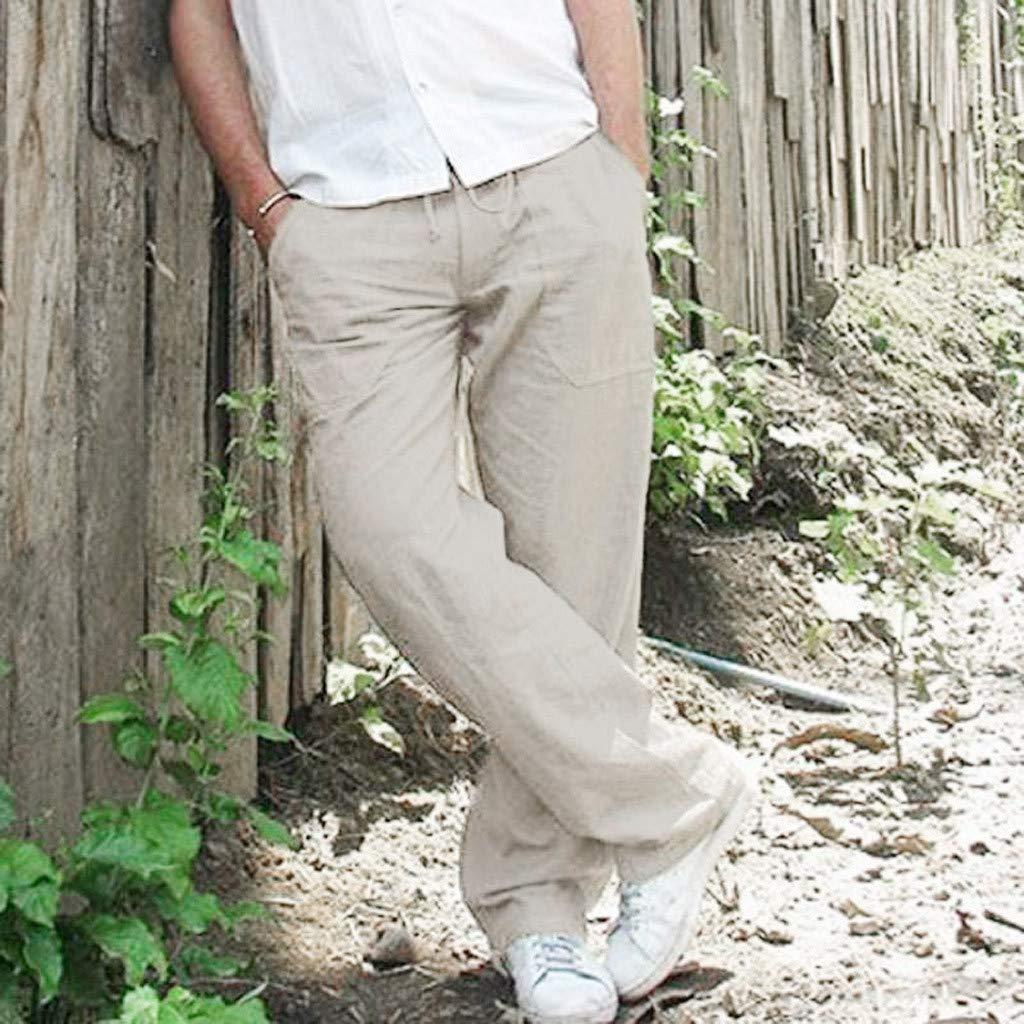 FRAUIT Pantaloni Uomo Lino Eleganti Pantalone da Lavoro Ragazzo Taglie Forti con Tasche Plus Size Oversize Pantaloni Uomini Cargo Estivi Pantaloni Estivi Elasticizzati Pantaloni Slim Fit Casual