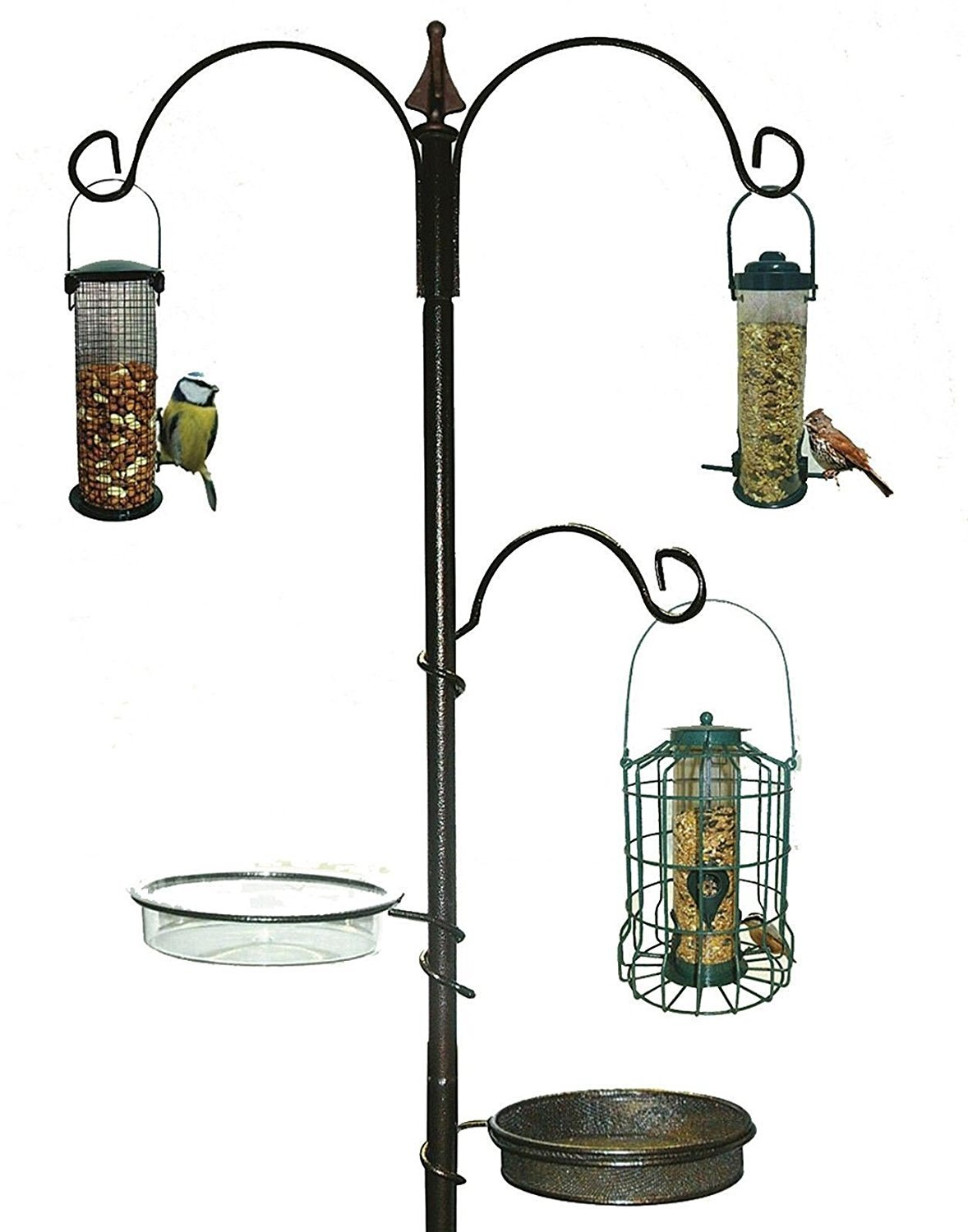 New Traditional Bird Table Feeding Station Hanging Wooden Metal Garden Wild discountin ltd