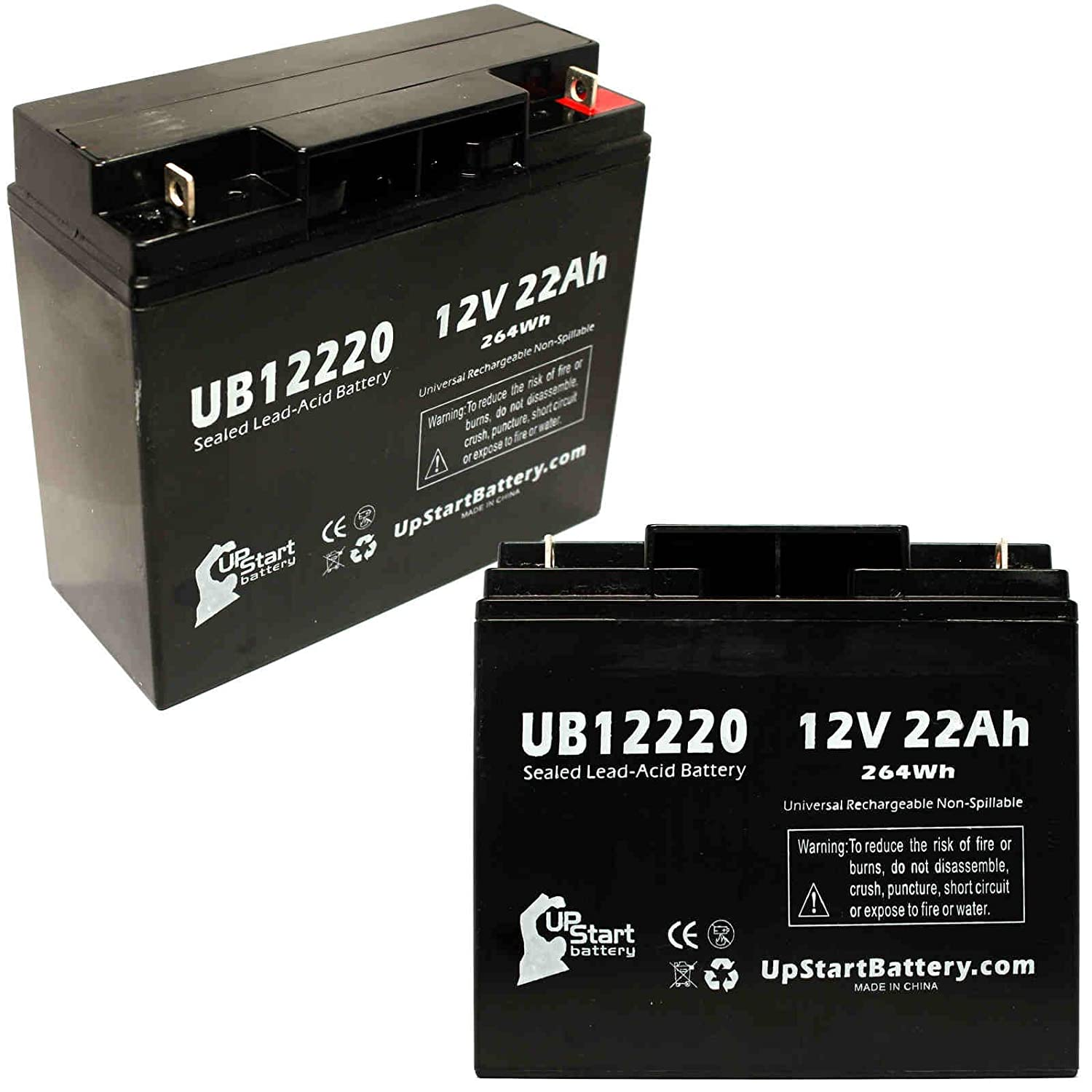 2 Pack Replacement for UB12220 Universal Sealed Lead Acid Battery Replacement (12V, 22Ah, 22000mAh, T4 Terminal, AGM, SLA)
