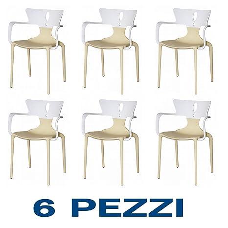 6 Sedie con braccioli Design in Polipropilene Bicolore ...