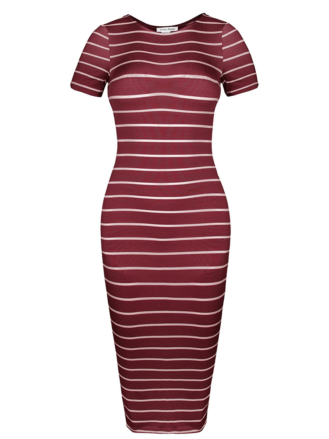 Idrw004 Burgundy White Instar Mode Women's Classic Casual Jersey Striped 3 4 Sleeve Bodycon Dress