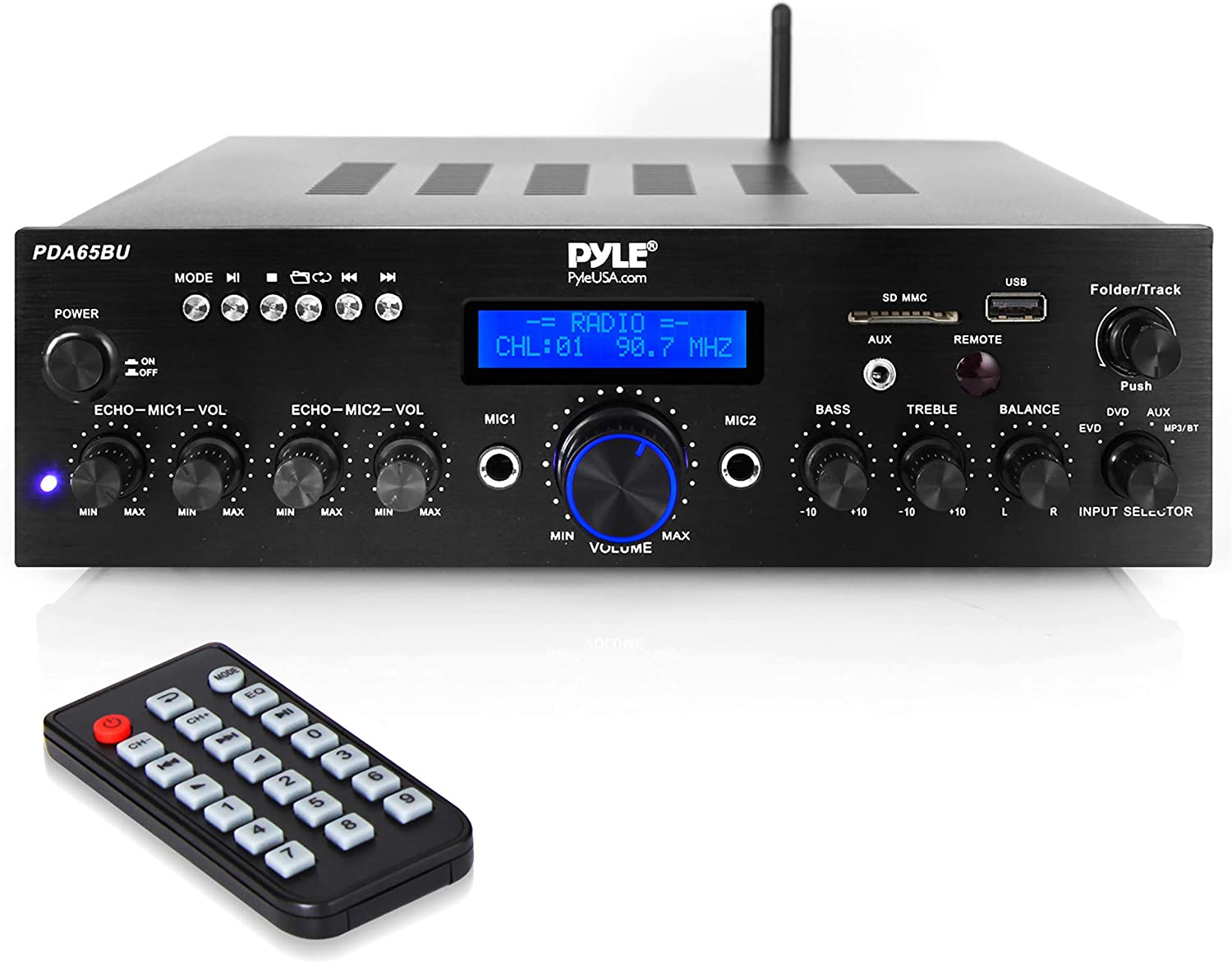 Wireless Bluetooth Power Amplifier System - 200W Dual Channel Sound Audio Stereo Receiver w/ USB, AUX, MIC IN w/ Echo, Radio - For Home Theater Entertainment via RCA, Studio Use - Pyle PDA65BU,Black