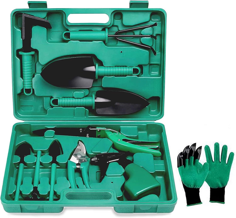 Uclet Heavy Duty Gardening Tools 12 Pieces Garden Tool Set, Garden Tool Kit with Carrying Case, Gardening Gifts for Women, Men, Gardener (Green)