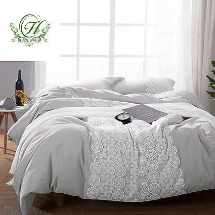 LifeTB Solid Luxury Queen Bedding Duvet Cover Set 3 Piece Cotton Duvet  Comforter Cover Set With