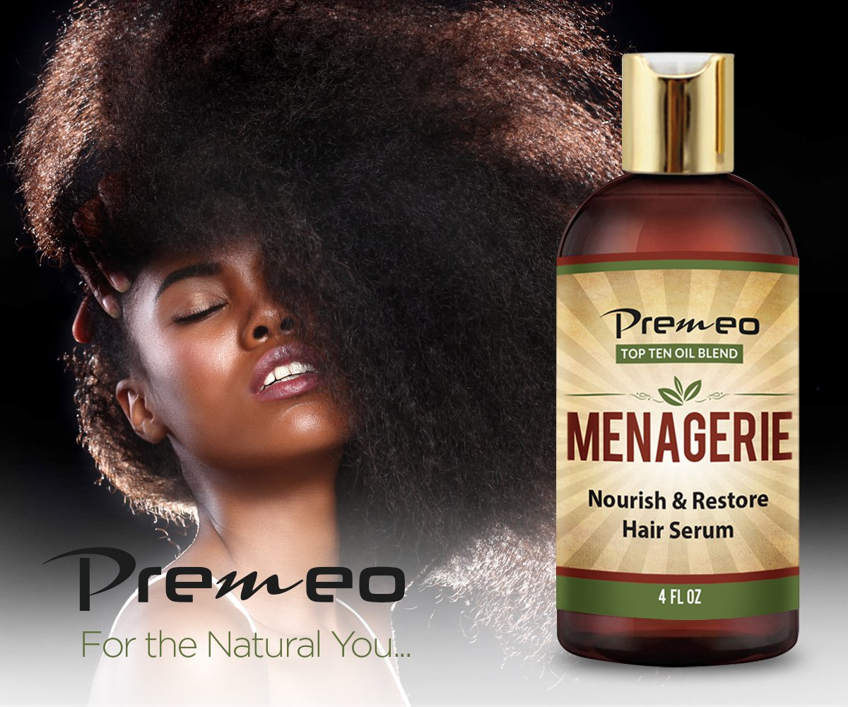 Menagerie Hair Growth Serum - Top Ten 100% Natural Oils For Thicker Stronger Softer Hair Including Organic Castor, Sweet Almond, Avocado, Grapeseed, Coconut Aragon, Jojoba, Rosemary (4 oz) by Premeo (Image #7)