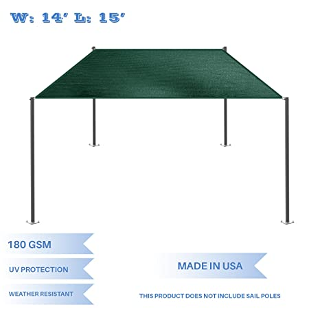 E K Sunrise 14 x 15 Green Rectangle Sun Shade Sail Outdoor Shade Cloth UV Block Fabric,Straight Edge-Customized