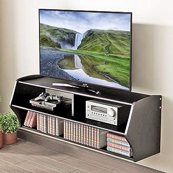 Amazon Com Holarose Floating Tv Console Stand Black Wall Mounted