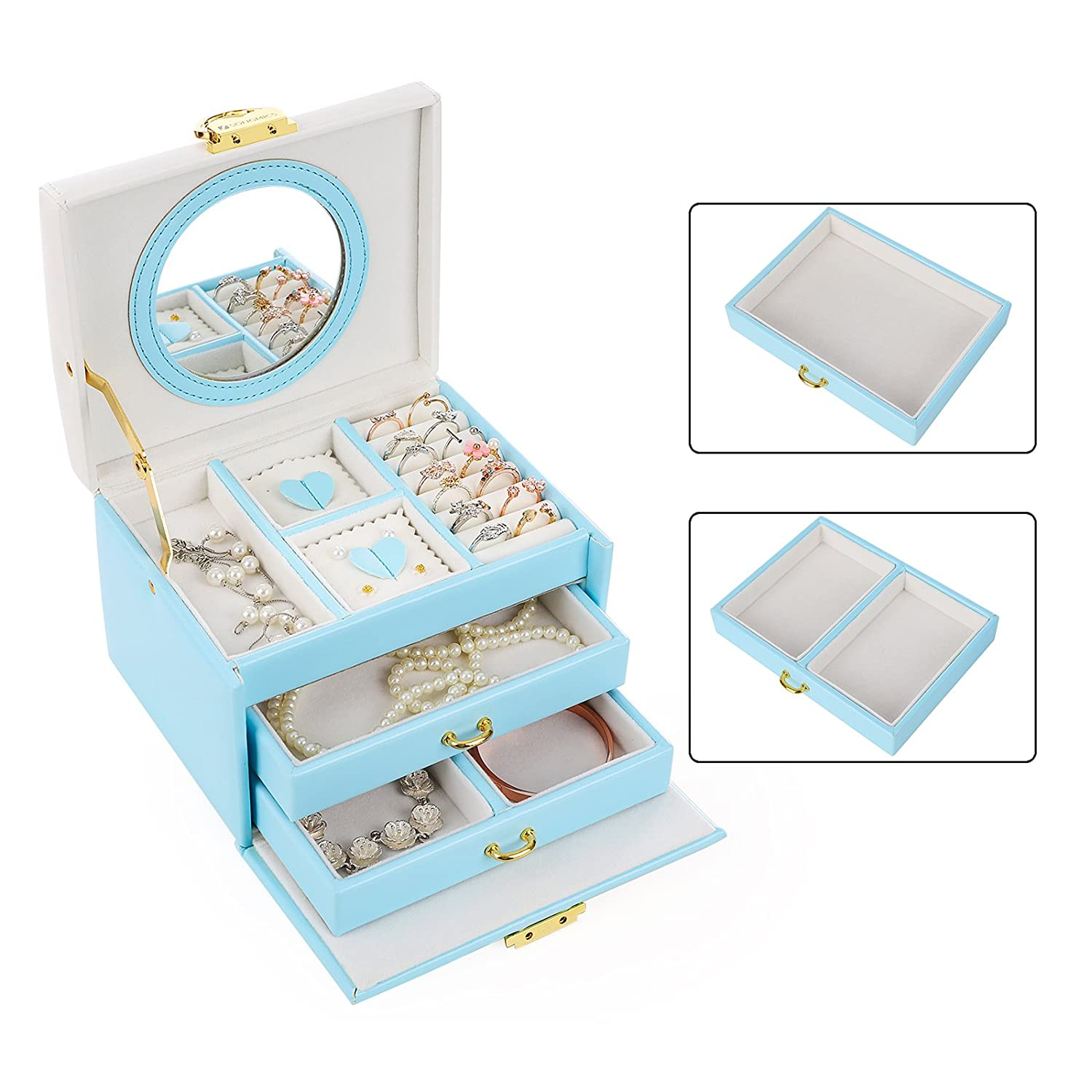 SONGMICS Jewelry Box with Bowknot Mirrored Compact Travel Case Gift for Kids Girls and Women Blue and White UJBC115Q