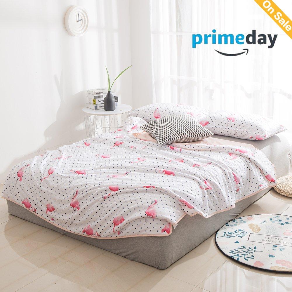 HMTOP 【NEW】 Polka Dot Flamingo Printed Twin Quilt Little Dot Gingham for Kids Girls Teens Students Bedding Comforter White Pink