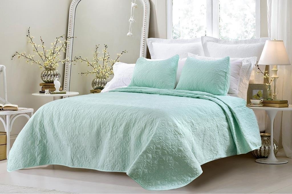 CC&DD Austin Microfiber 3-Piece Over-sized Bedspread/Coverlet Set Queen, Sea green