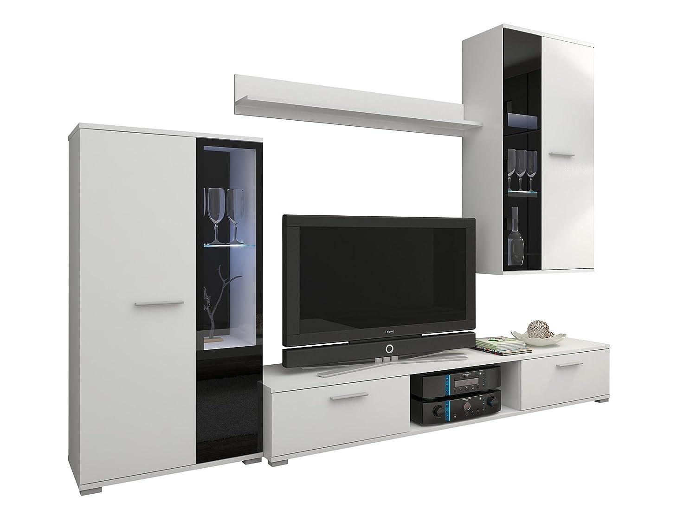 Wohnwand Salsa, Design Mediawand, Modernes Wohnzimmer Set, Anbauwand, Hängeschrank, Vitrine, TV Lowboard, (ohne Beleuchtung, Weiß)
