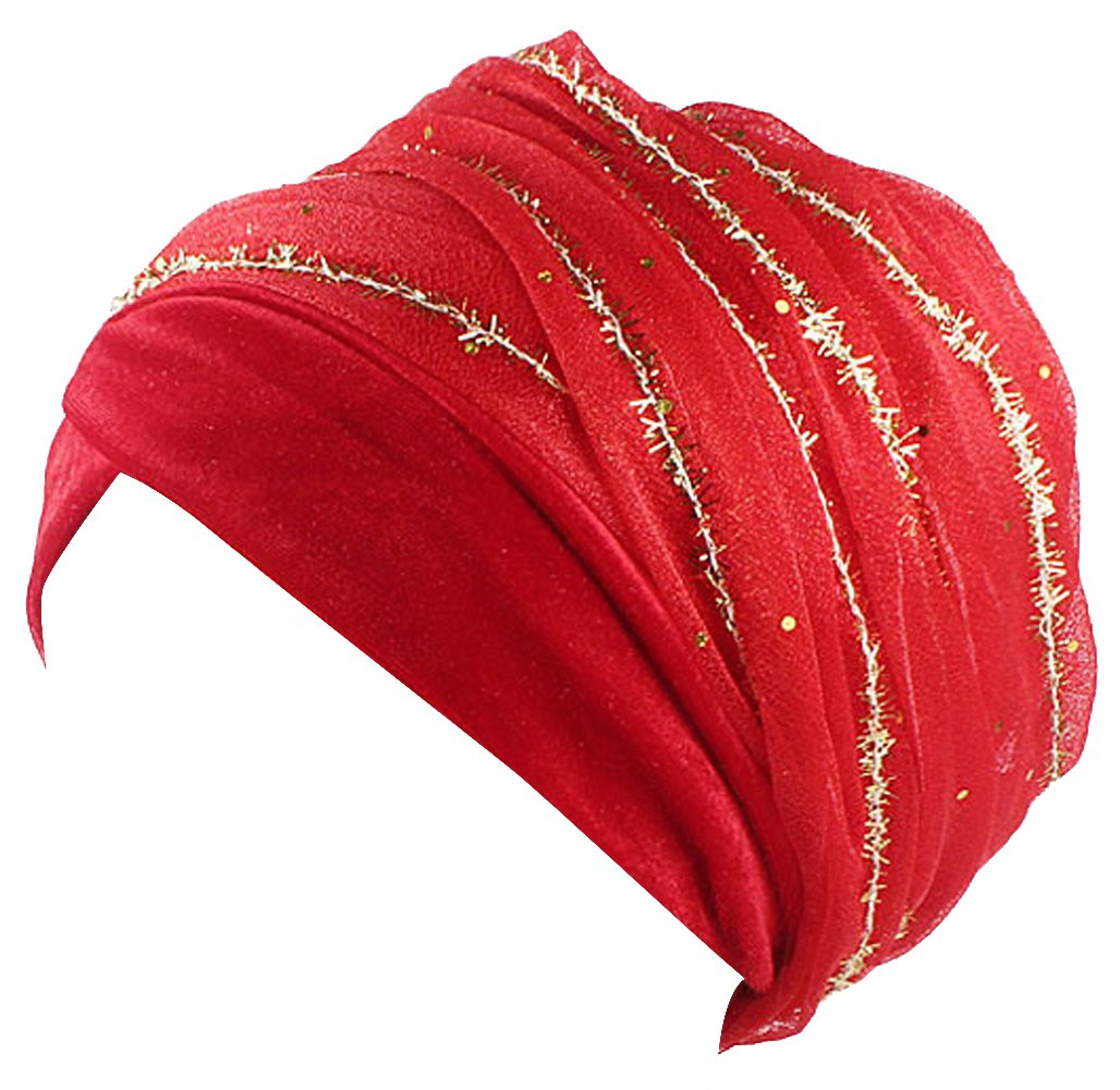 Ababalaya Women's Soft Luxury Velvet Glitter Mesh Wrapped Muslim Turban Hijab 67×10 Inch,Red