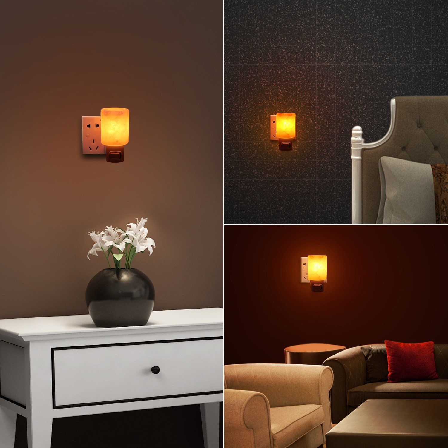 AMIR Salt Lamp, Natural Himalayan Crystal Salt Light with 2 Bulbs (1 Colorful Bulb), 11.2 Ounces Mini Hand Carved Night Light with UL-Approved Wall Plug for Air Purifying, Lighting and Decoration by AMIR (Image #2)