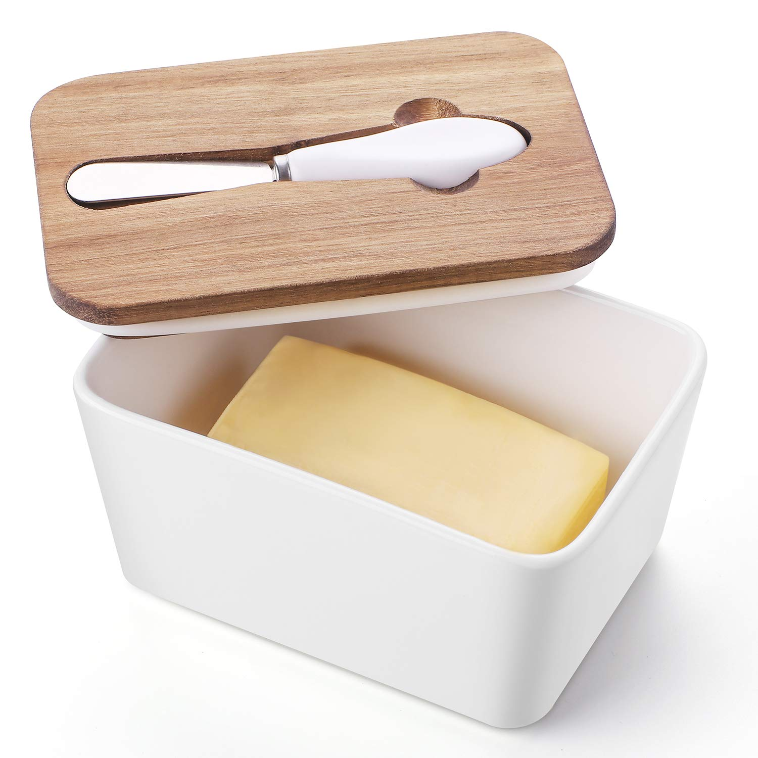 DOWAN Large Butter Dish, Butter Keeper with Healthy Wooden Lid and Steel Knife, Butter Storage Container for the Tabletop, Porcelain, White